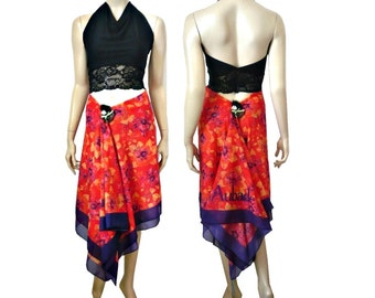 3 in 1 Aubade Summer Skirt / Dress / Pareo Floral Red