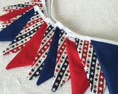 Stars and Stripes Bunting banner - 11 small flags, Star Spangled Banner, Independence Day Bunting, Patriotic Bunting