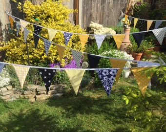 Extra Long Bunting yellows and navy - 45 flags - 10m or 33ft Long, weddings, parties, decoration
