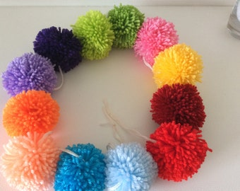 Pom Pom garland - handmade 12 rainbow yarn bobble Pom poms 6ft long