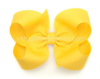 Bright Yellow Hair Bow, 4 inch Boutique Bow, Grosgrain Hairbows for Girls, Classic Hairbow, Baby Toddler Girls