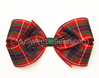 Fraser Tartan Bow, Fraser of Lovat Plaid Bow, 5 inch Hair Bow, Frazer, Highlander, Red Green Navy, Scottish Festival, Outlander Cosplay
