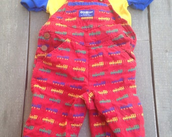Vintage Oshkosh Train Overall Set