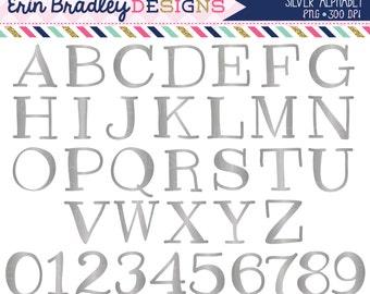 Silver Foil Alphabet Clipart Instant Download Commercial Use Alpha Clip Art for Digital Scrapbooking