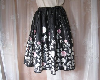 Floral Skirt, Upcycled Woman's Floral Print Skirt Free Size