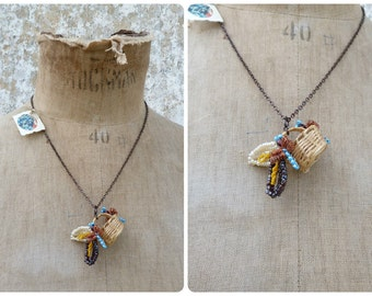 La belle Abeille pendant necklace glass seeds beads bees on real lilliput basket & thin copper chain necklace
