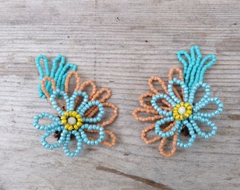 FLOWERS French handmade Vintage glass beads  bouquet clips earrings