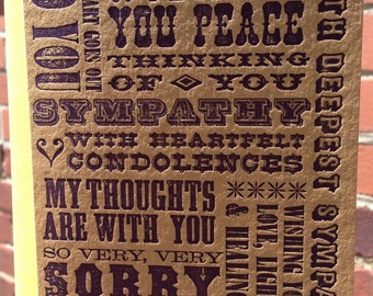 Letterpress Sympathy Card - *NEW* Wooden Type Collection (single)