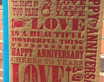 Happy Anniversary Letterpress Greeting Card - *NEW* Wooden Type Collection (single)