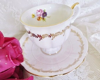 Vintage Crown Staffordshire Teacup,  Pink Ice Tea Cup, Staffordshire Pink Teacup, Garden Party Teacup,   no 30
