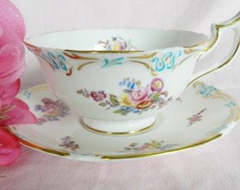 1950s Coalport Teacup, 1940s Coalport Tea Cup, Vintage Teacup, Turquoise Teacup, Turquoise Coalport Tea Cup, no22
