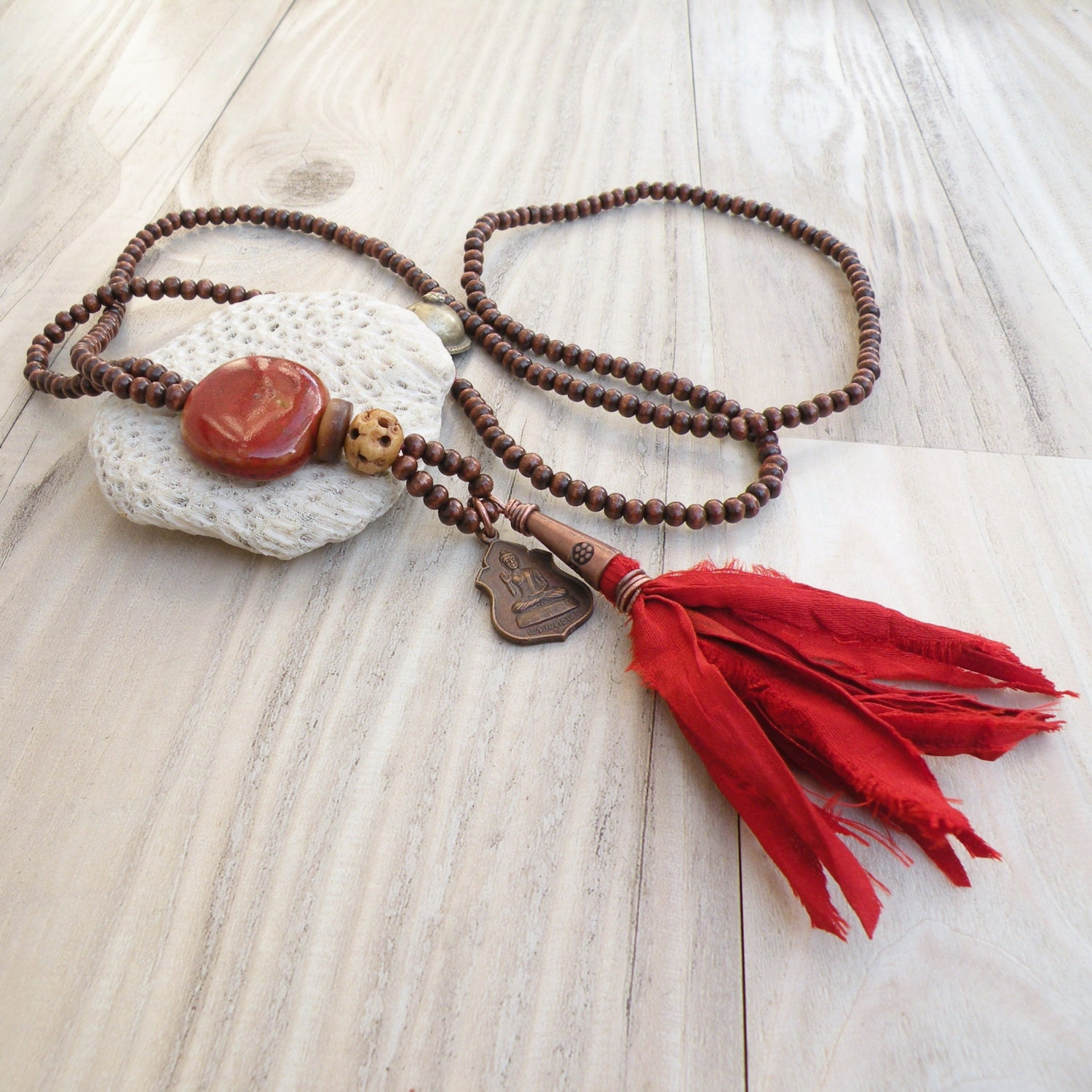 long buddha tassel necklace dark brown wood beads rusty. Black Bedroom Furniture Sets. Home Design Ideas