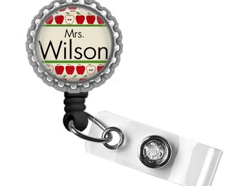 Personalized Teacher Apples in a Row ID Badge Reel - Gifts for Teachers, Teacher Lanyard, Thank You Gift, Back to School, Teacher Badge
