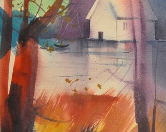 Red Autumn Watercolor Print, Autumn Art, Contemporary Art, Autumn Decor, Landscape Art, Home Decor Art, Autumn Leaves, Fall Art, Fall Decor