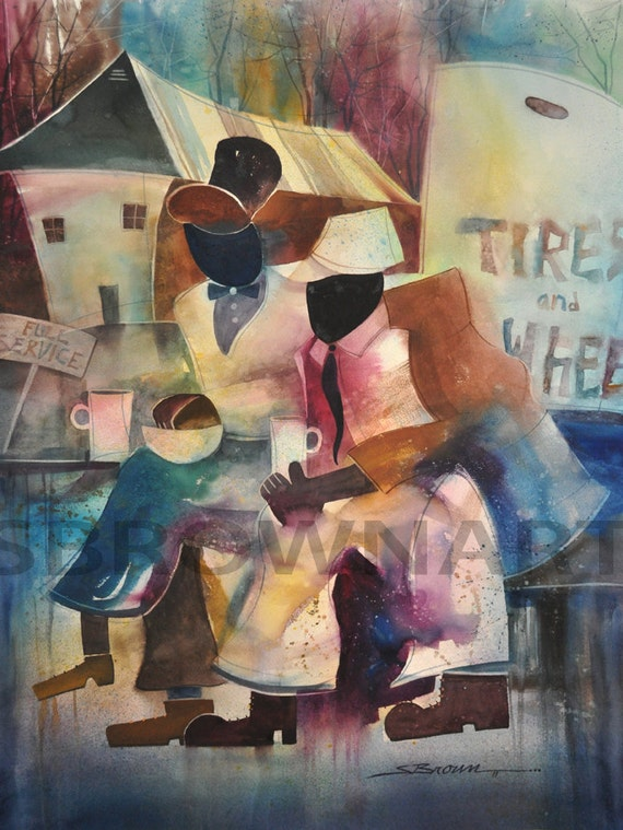 Full Service Watercolor Painting African American Art By