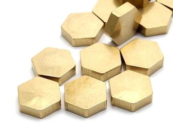 10 Raw Brass Hexagon Discs (10x3 Mm)   D372