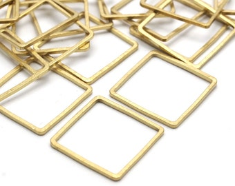 Square Brass Pendant, 50 Raw Brass Square Connectors (16mm) Bs-1119