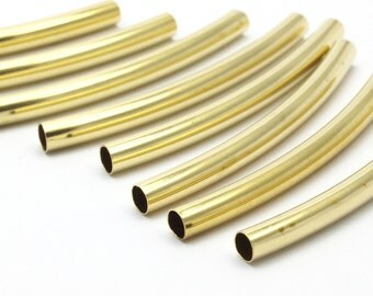 Brass Noodle Tube, 24 Raw Brass Curved Tube (4x50mm) Bs 1424