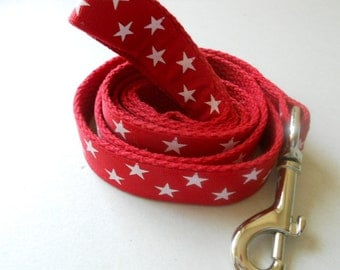 Red and White Stars Leash /Matching Collar Available/Ribbon Leash