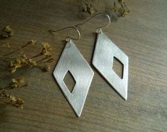 sterling silver diamond shaped modern earrings with diamond cut out, elegant earrings for everyday wear, ready to ship