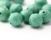 Turquoise Gold Etched Carved Acrylic Round Beads 11mm (20)