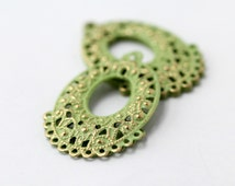 Green Gold Alloy Filigree Stamping Charm Pendant Oval Hoop Pendant Findings 40mm (6)