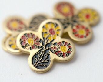 Vintage Cloisonne Cabochons Enameled Flower Clover Cabs Flatbacks 12.5mm (4)