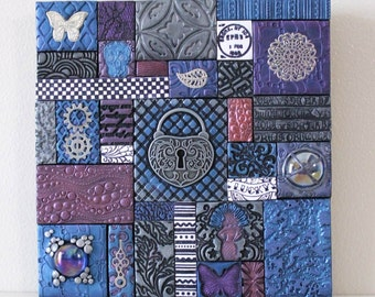 Polymer Clay Tile Mosaic Purple/Blue/Silver 6 x 6 Inch Assemblage Mixed Media