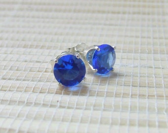 Blue Quartz Hydrothermal Stud Earrings Sterling Silver Lab Created 6mm