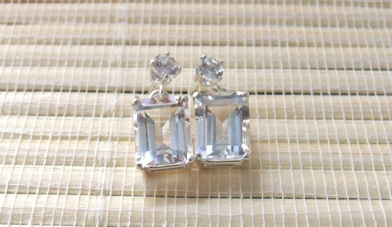 White Topaz Earrings Stud Dangle Sterling Silver On Sale