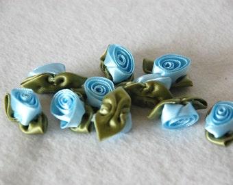 Satin ribbon rosebuds LARGE in baby blue - packs of 10pc