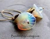 20% Off Sale-Opalite Earrings-Flower Earrings-Crystal Earrings-Boho Jewelry-Dramatic Earrings-Spring Earrings-White Flower Earrings