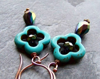 Bohemian Earrings-Boho Jewelry-Turquoise Earrings-Crystal Earrings-Copper Earrings-Moroccan Earrings-Exotic Earrings