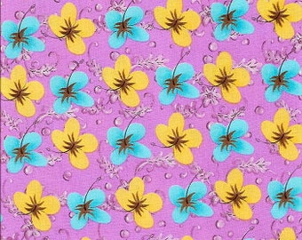 Rare 1 Yard Sweet Poppies Hibiscus - Lilac by Tina Givens for Westminster Fibers / Rowan Fabrics.