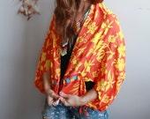 Hawaiian Floral Print Bohemian Fringe Festival Shawl Sweater Jacket Batwing Kimono Bell Sleeve Doily Yoga Beach Cover Up Orange Womens