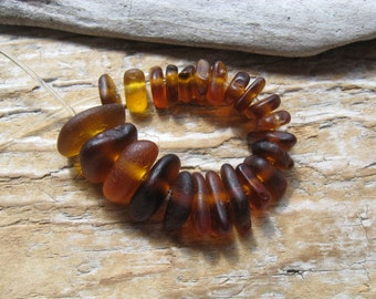 Drilled BEACH GLASS Beads BROWN Sea Glass Beads