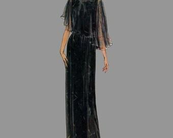1980 Evening dress pattern Vogue 7873 Flowing capelet Long flared skirt Bust 40