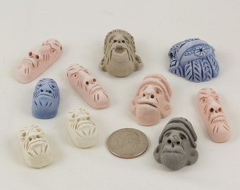 African mask Clay face beads, Ten 10, Blue, White, Pink, Grey Statement beads, Ceremonial masks, Use as pendants