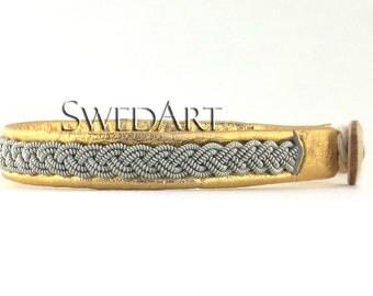 SwedArt B12 Sami Lapland Leather Bracelet Pewter Braid Antler Button Gold SMALL