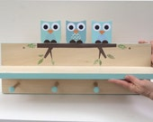 Blue Owl Clothing Rack and Shelf,  Coat Rack, Woodland Nursery, Woodland Kids Decor, Blue, Aqua, Woodland Themed Nursery