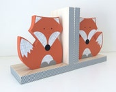 Fox Bookends, Orange and Gray, Woodland Nursery, Woodland Kids Decor, Fox Nursery, Forest Themed Nursery, eco friendly