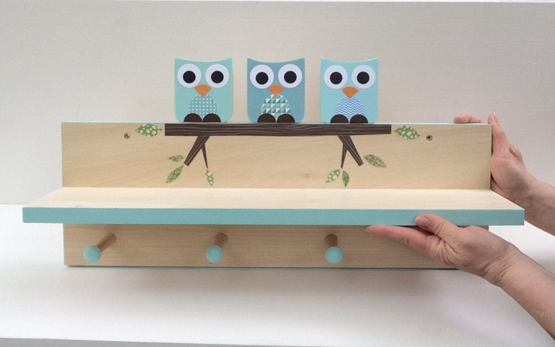 Coral Pink Owl Clothing Rack And Shelf Wall Coat Rack