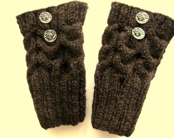 Boot Toppers, Knit Boot Cuffs, Leg Warmers, 2 Buttons, Dark Brown, Pure Chunky Wool, Ready To Ship