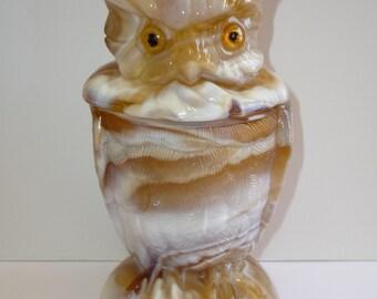 Vintage Imperial Owl Candy Jar Dish Caramel Slag Glass End of Day Glass Figural