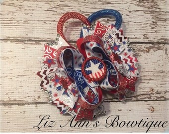 Fourth of July independence day boutique bow ready to ship