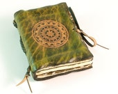 Supernatural pocket leather journal (green) Compass on cover