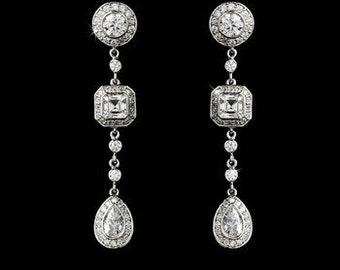 Art Deco bridal earrings crystal wedding vintage inspired Art Nouveau 1920s/30s style crystal drop wedding bridal earrings silver