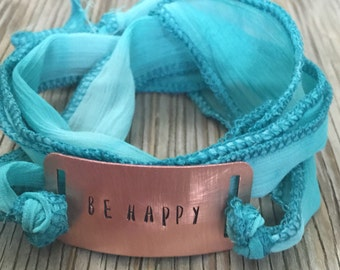 Custom hand stamped silk wrap bracelet- jewelry  one little word jewelry girlfriend Christmas gift for her inspirational jewelry