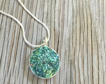 Lovely leaf faux druzy pendant with 18 inch silverplated snake chain- handmade jewelry
