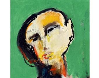 Square Art, Portrait Art Print, Face Art, Abstract Modern Art, Modern Art Painting, Portrait Illustration